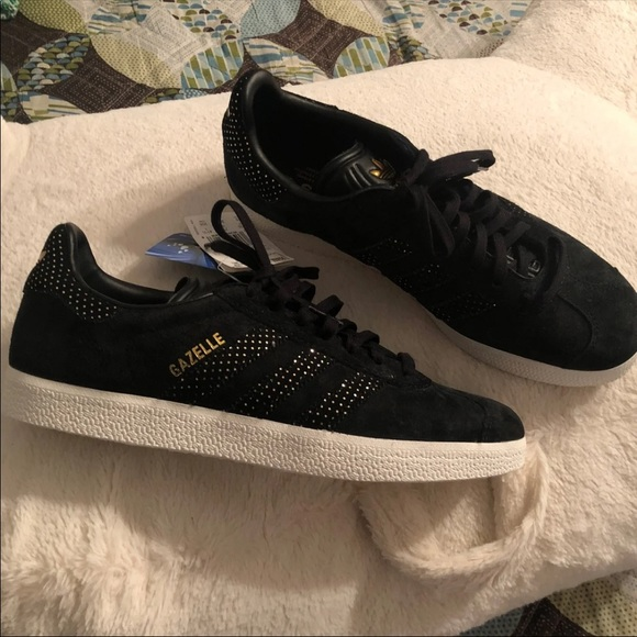 Adidas Gazelle Black And Gold Sneakers